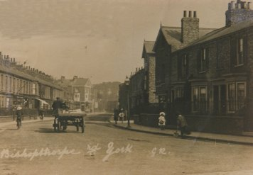 Bishopthorpe Road around turn of century. Several of the shops now on the left were then private houses, with small gardens at front.