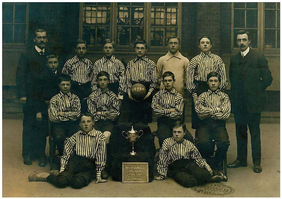 Scarcroft School Football Chapions 1908/9. Can you help us to identify any boys or teachers on this photo?