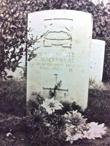 Albert's grave in Hospital Farm Cemetery, Leper, Belgium