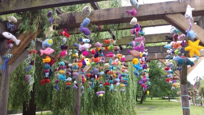 Fantasy Fish Yarnstorm installtion to raise funds for York Flood Appeal at Rowntree Park, June 2016